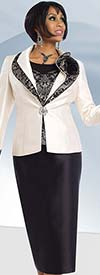 Chancelle 40545 Three Piece Skirt Suit With Layered Collar
