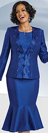 Chancelle 40548 Three Piece Flounce Skirt Suit With Scalloped Collar