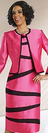 Clearance Chancelle 40560 Ladies Two Piece Jacket & Striped Dress Set