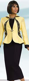 Chancelle 40561 Three Piece Skirt Suit With Wing Collar Jacket