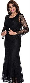 DCC - DCC142-Black Womens Lacy Sleeveless Dress With Jacket