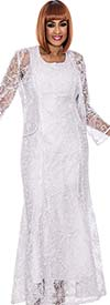 DCC - DCC142-White Womens Lacy Sleeveless Dress With Jacket