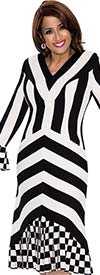 DCC - DCC251 Womens Striped Dress With Checkered Cuffs