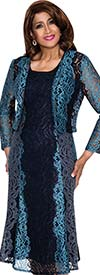 DCC - DCC312 Womens Floral Lace Dress & Jacket Set