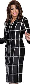 DCC - DCC321 Womens Black Dress With Silver Stripes
