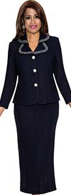 DCC - DCC362-Navy Two Piece Womens Suit With Clover Lapel