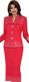 DCC - DCC392-Red Two Piece V-Neck Ladies Suit
