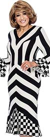Clearance DCC - DCC251 Striped Dress With Checked Flounces