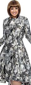 DCC - DCC302-Platinum - Pleated Bell Dress With Multi Color Print