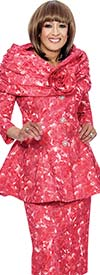 DCC - DCC482-Red - Floral Textured Skirt Suit With Portrait Collar Peplum Jacket