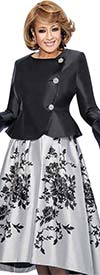 Clearance DCC - DCC712 Floral Skirt Suit With Peplum Jacket & Flounce Sleeves