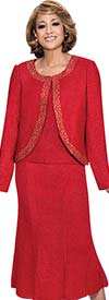 DCC - DCC1263-Red - Knit Flare Skirt Womens Suit With Embellished Trim Jacket