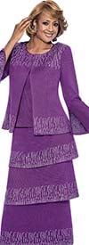 DCC - DCC963-Purple - Split Flare Sleeve Knit Womens Suit With Tiered Skirt