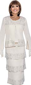 DCC - DCC963-White - Split Flare Sleeve Knit Womens Suit With Tiered Skirt