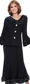 DCC - DCC982-Black - Layered Ruffle Trimmed Knit Skirt Suit For Women