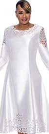 DCC - DCC451-White - Pleated Dress With Intricate Laser Cut Design