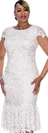 DCC - DCC651-White - Flounce Hem Cap Sleeved Dress With Laser Cuts