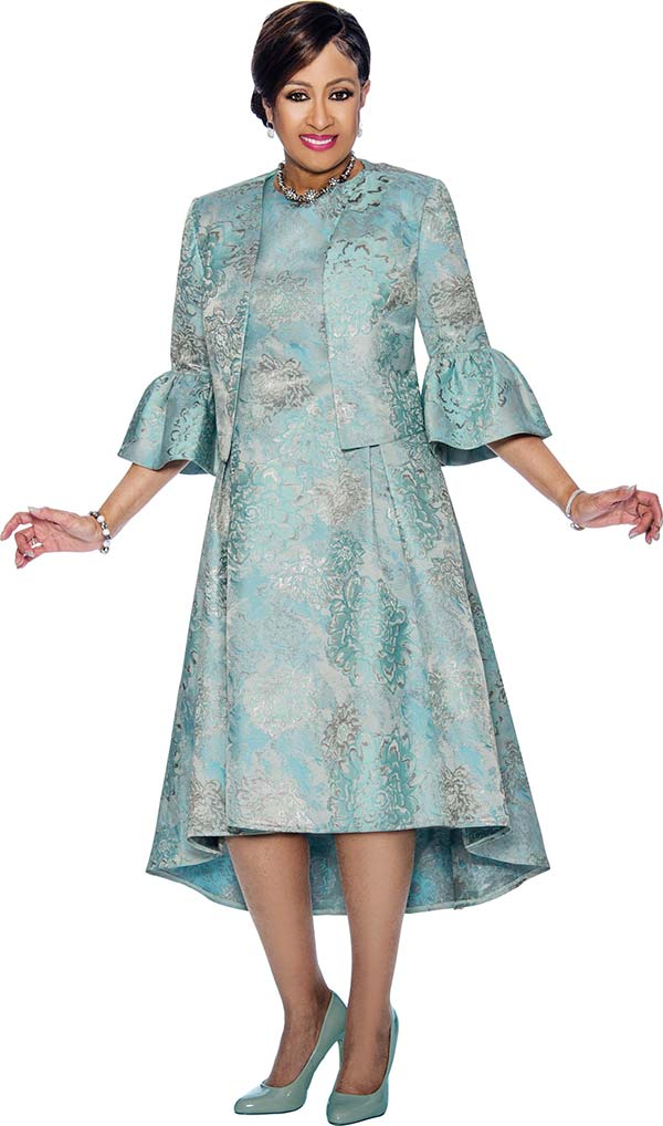 DCC - DCC1102-Blue - Floral Printed Pleated Dress & Jacket Set With Bell Cuffs