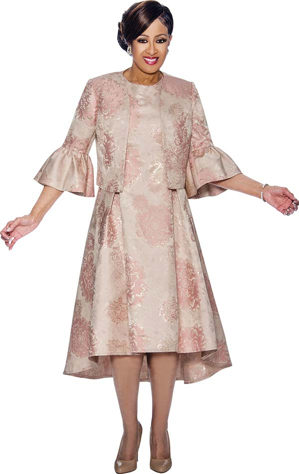 DCC - DCC1102-Pink - Floral Printed Pleated Dress & Jacket Set With Bell Cuffs