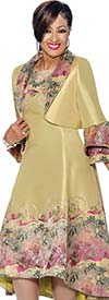 DCC - DCC1352 - Print Accented Dress & Bolero Style Layered Bell Cuff Jacket