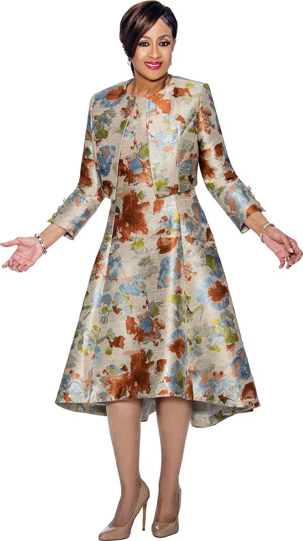 DCC - DCC1362-Rust - Printed A-Line Dress & Bolero Style Jacket