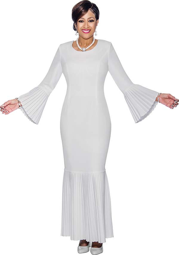 DCC - DCC1381 - First Lady Church Dress With Accordion Pleated Flounce Hem & Bell Cuffs