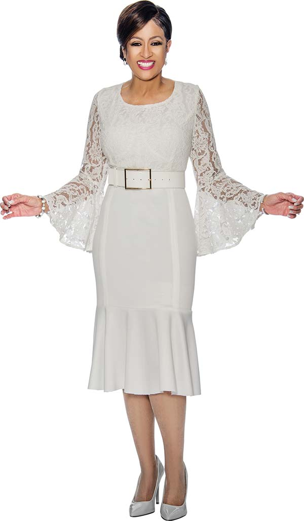 DCC - DCC1401 - Lace Accented Flounce Hem Dress With Bell Sleeves