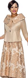 DCC - DCC1412-Champagne - Floral Accented Skirt Suit With Asymmetric Portrait Collar