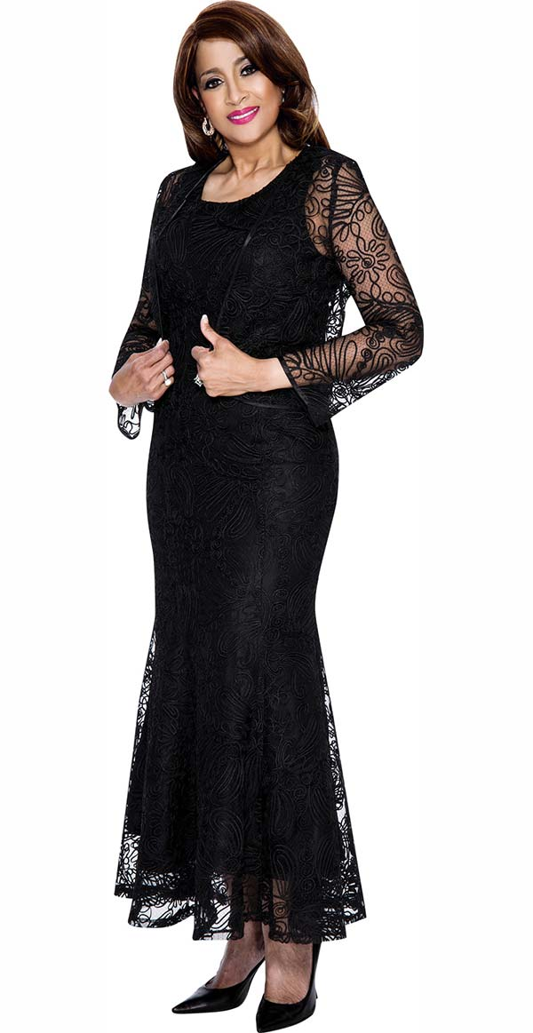 DCC - DCC142-Black - Mesh Layered Womens Dress With Pleats