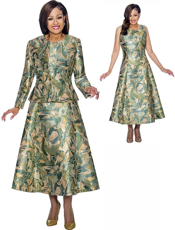 DCC - DCC1442- Abstract Printed A-Line Dress & Jacket Set