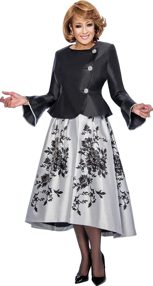 DCC - DCC712-Black - Floral Skirt Suit With Peplum Jacket & Bell Cuffs