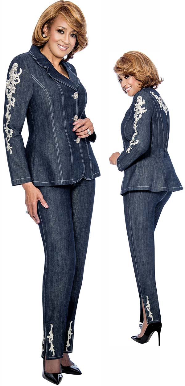 DCC - DCC852 Womens Pant Suit With Floral Embroidery