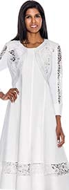Clearance Devine Sport NY DS50952-White Laser Cut Embroidered Dress
