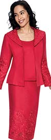 Clearance Devine Sport NY DS51473-Red - Soft Stretch Womens Denim Suit With Embroidery
