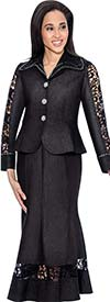 Devine Sport NY DS50672-Black - Soft Stretch Denim Flared Skirt Suit With Lace Insets