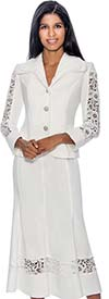 Devine Sport NY DS50672-White - Soft Stretch Denim Flared Skirt Suit With Lace Insets