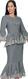 Devine Sport NY DS51582-Silver - Soft Stretch Denim Flounce Hem Skirt Suit With Lace Trimming