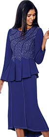 Devine Sport NY DS51622 Embellished Soft Stretch Denim Skirt Suit With Pleats