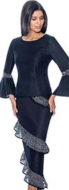 Devine Sport NY DS61652-Navy - Soft Stretch Denim Suit With Lace Encircled Skirt & Bell Cuffs