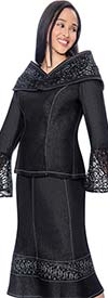 Devine Sport NY DS61672 Lace Bell Cuff Denim Skirt Suit With Portrait Collar