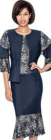 Devine Sport NY DS61693 Denim Flounce Hem Skirt Suit With Solid & Patterned Tier Sleeve Jacket