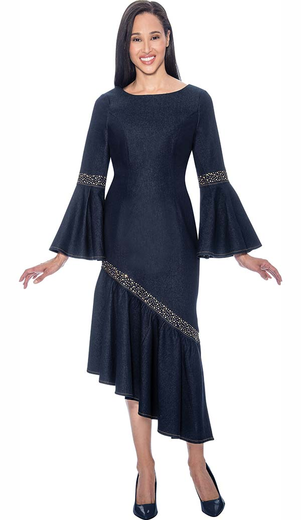 Devine Sport NY DS61711 Stretch Denim Dress With Angled Flounce Hem & Bell Cuff Sleeves