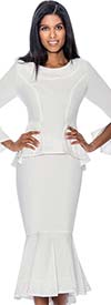 Devine Sport NY DS61752-White - Soft Stretch Denim Flounce Hem Skirt Suit With Peplum Jacket & Embellished Trim
