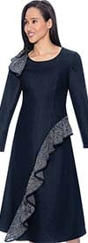Devine Sport NY DS61801-Navy - Soft Stretch Denim Dress With Ruffle Adornment