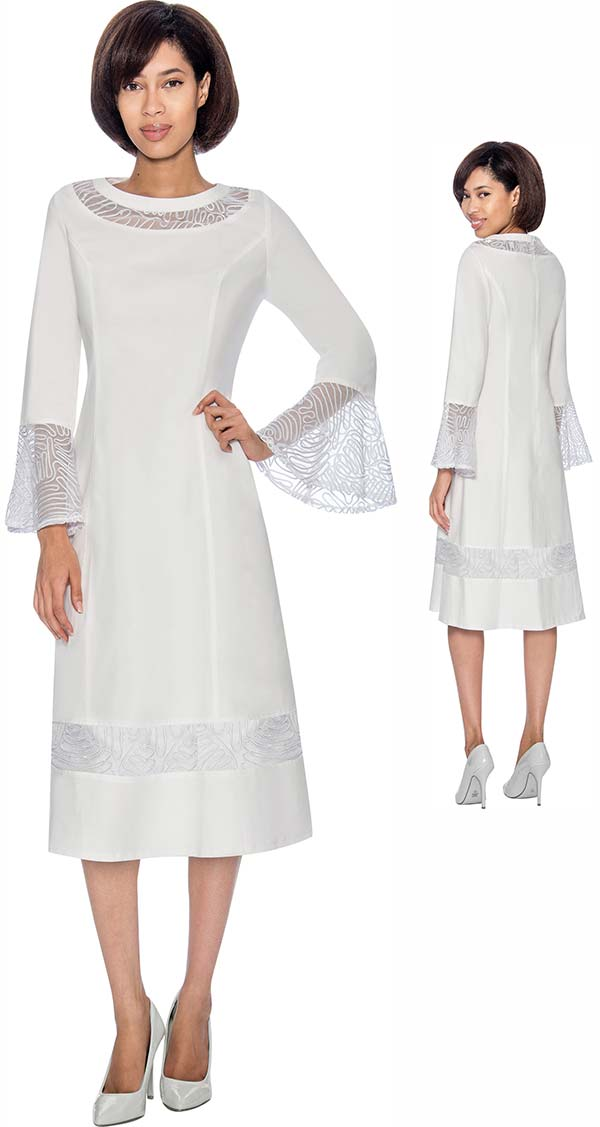 Devine Sport NY DS61811 Bell Cuff Sleeve Denim Dress With Mesh Inset Design