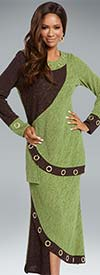Donna 18142 Novelty Knit Tunic & Skirt Set With Gold Grommets