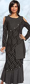 Donna 18146 Novelty Knitted Metallic Fabric Tunic & Flounce Skirt Set With Silver Stud Trims