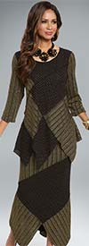 Clearance Donna 18152 Novelty Knitted Metallic Fabric Tunic & Skirt Suit With Asymmetric Design
