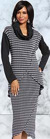 Donna 18154 Novelty Knit Tunic & Tulip Skirt Set With Black / Silver Trims