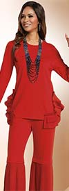 Donna 18157 Knit Tunic & Pant Suit With Rufffled & Pleated Trims